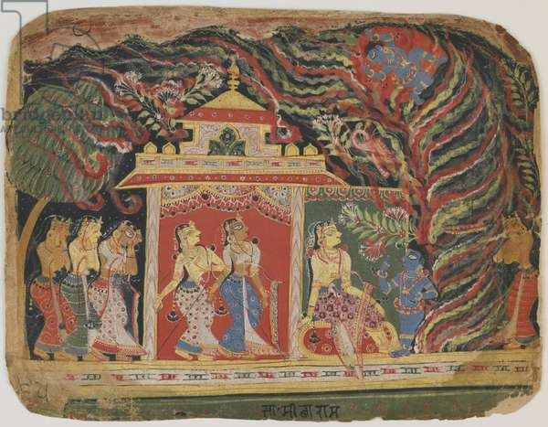 Krishna carried off by the Whirlwind Demon, from a Bhagavata Purana. c.1520-30 (opaque w/c on paper)