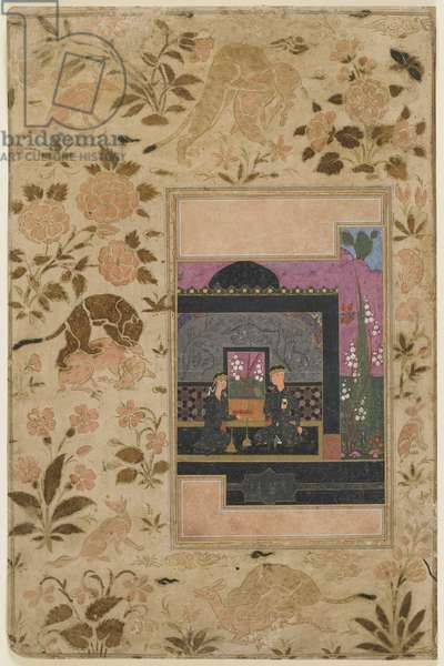 Folio from a Haft paykar; Bahram Gur and the Princess in the Black Pavilion, Qazwin, Iran, c,1590 (opaque watercolour, ink and gold on paper)