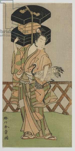 Kabuki Actor Nakamura Noshio as a Fan Vendor, Edo period, mid 1770s (colour woodblock print)