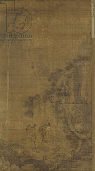Gazing at a Waterfall by a Pine Bluff, Ming Dynasty (ink on silk)