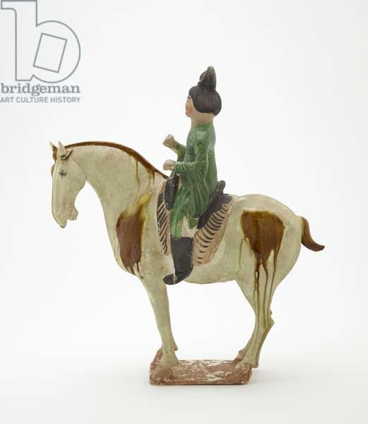 Man on horseback, Tang Dynasty, c.700-750 (earthenware with lead-silicate glazes & painted details)