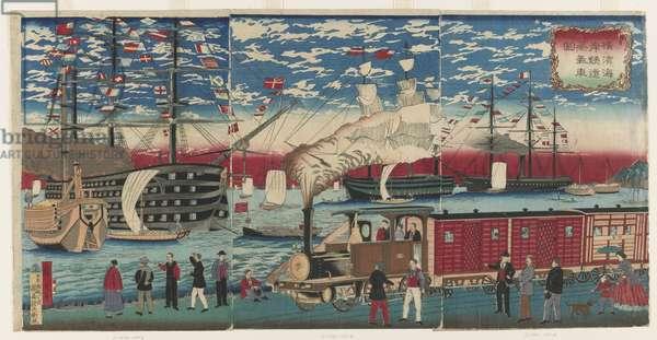 Picture of a Locomotive Along the Yokohama Waterfront, Yokohama, Edo period, 1871 (colour woodblock print)