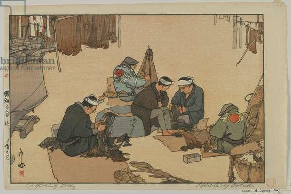 A spring day, Showa era, 1927 (colour woodblock print)