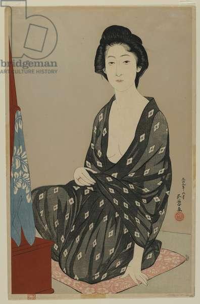 Woman in Summer Dress, Taisho era, June 1920 (colour woodblock print)