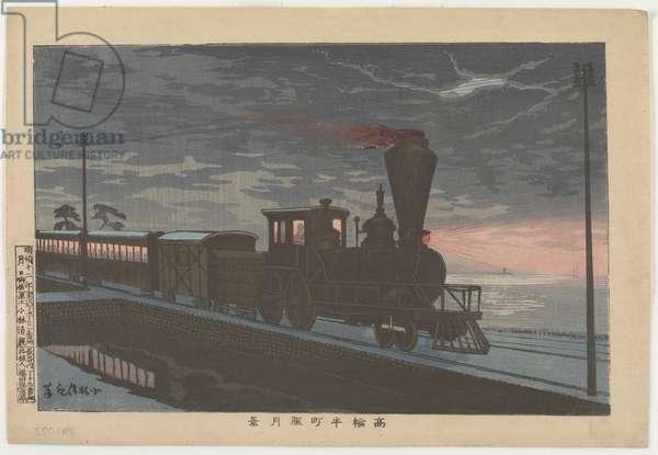 View of Takanawa Ushimachi under a Shrouded Moon, 1879 (colour woodblock print)