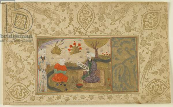 Folio from an unidentified text; A Woman Converses with a Seated Man by a Stream, Iran, c.1500 (opaque watercolour, ink and gold on paper)