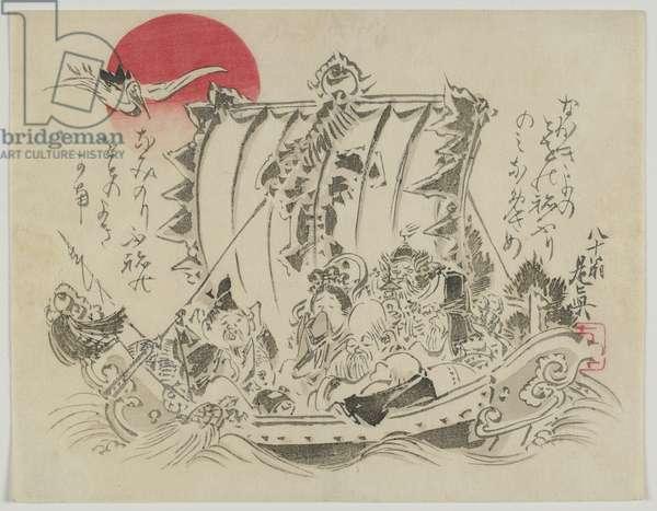 Seven Gods of Fortune in a Treasure Ship, Meiji era, late 19th century (colour woodblock print)