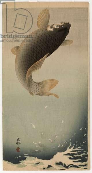 Leaping carp (colour woodblock print)