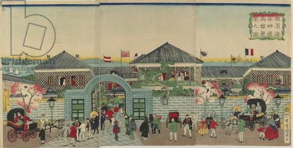 Picture of the Prosperity of Mercantile Establishments along Nakadouri on the Yokohama, Meiji era, 1870 (colour woodblock print)