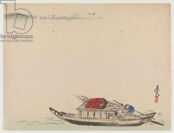 A River Boat (colour woodblock print)