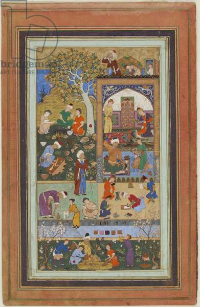 Folio from an album; A School Scene, Tabriz, Iran, Safavid period, c.1540 (opaque watercolour, ink and gold on paper)