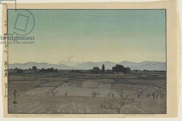 Fuji from Musashino, from the series, Ten Views of Mount Fuji, Showa era, 1928 (colour woodblock print)