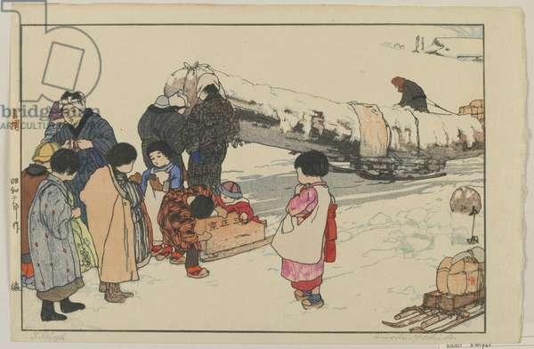 Sleigh, Showa era, 1927 (colour woodblock print)