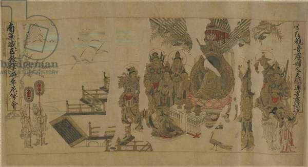 The Buddha addressing Yamaraja at Kusinagara, 12th-13th century (ink, colour and gold on paper)