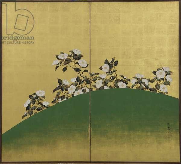 Camelias, Edo period (ink, colour & gold on paper)