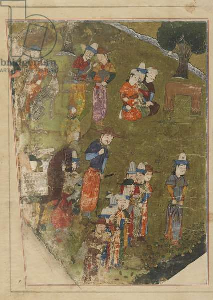 Folio from a Zafarnama; recto: Timur Grants an Audience on the Occasion of His Accession to the Throne at Balkh; verso: text, Shiraz, Iran, Timurid period, 1436 (opaque watercolour, ink and gold on paper)