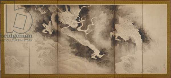 Dragons and Clouds, Edo Period (ink & pint tint on paper)