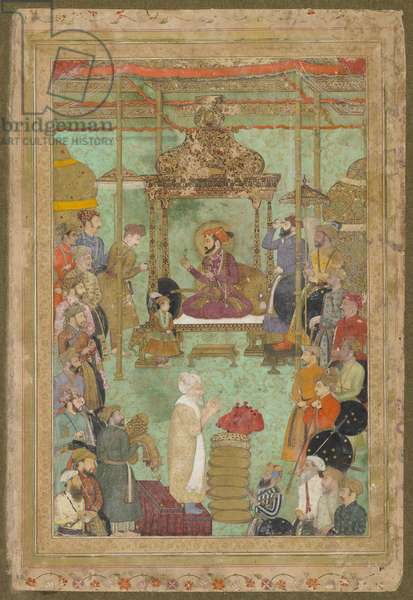 Shah Jahan enthroned with Mahabat Khan and a Shaykh, 'The Padshahnama', 1629-30 (w/c, ink & gold on paper)