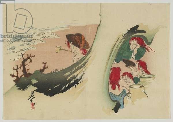 Shojo, Meiji era, late 19th century (colour woodblock print)