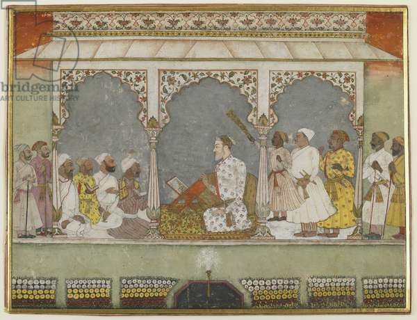 A reading of the Qur'an at court, Album folio with painting, mid-18th century (opaque watercolour on paper)