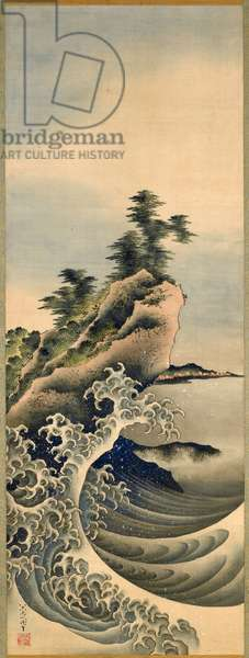 Breaking Waves, Edo Period, 1847 (ink & colour on silk)