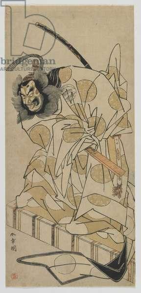 Kabuki Actor Nakajima Mihoemon as Fujiwara Shihei in the play, 'Sugawara's Secrets of Calligraphy', Edo period, 1776 (colour woodblock print)