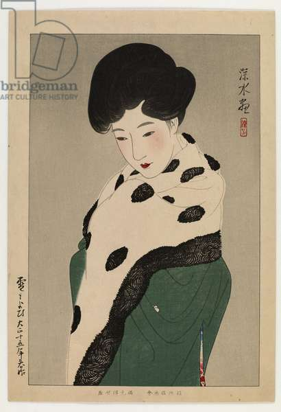 Expecting Snow, 1926 (colour woodblock print)