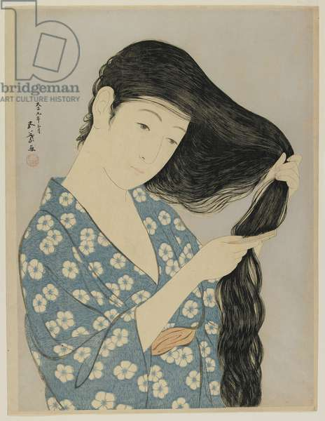 Woman Combing Her Hair, Taisho era, March 1920 (colour woodblock print)