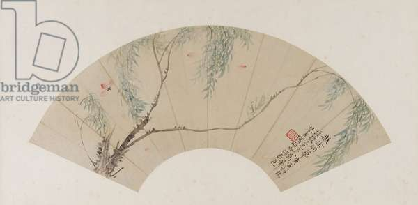 On a Branch of Willow, Qing Dynasty, probably 1770 (ink and colour on paper)