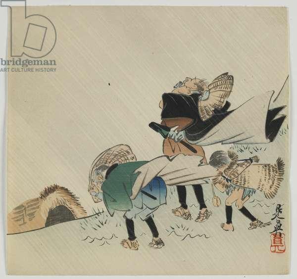 Three travelers caught in the wind, Meiji era, late 19th century (colour woodblock print)