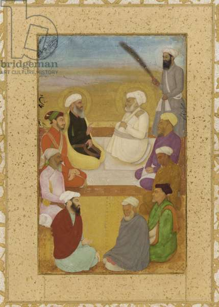Dara Shikoh with Mian Mir and Mulla Shah, detached album folio with painting, c.1640 (opaque watercolour, ink and gold on papermounted on paperboard)