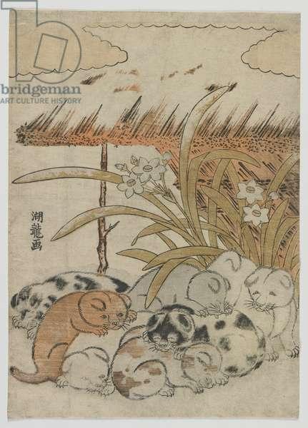 Puppies in the Snow, Edo period, 1778 (colour woodblock print)