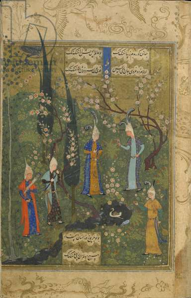 Five Youths in a Landscape, folio from a Divan (collected poems) by Shah Ismail (Khatai) (d. 1524) Tabriz, Iran, Safavid period, c.1520 (opaque watercolour, ink and gold on paper)