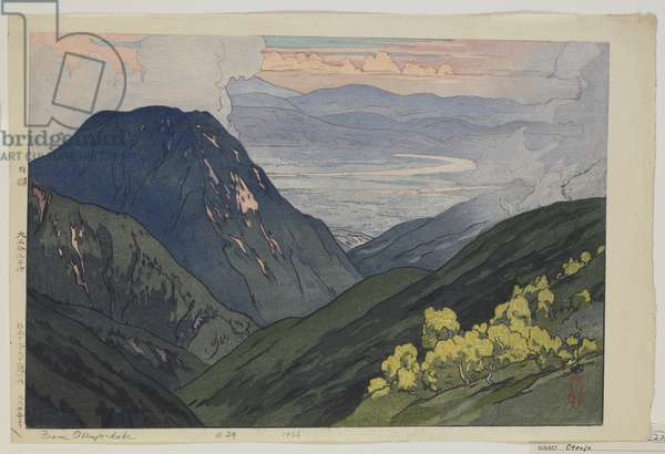 From  Daitenjodake, from the series, Twelve Scenes in the Japan Alps, Taisho era, 1926 (colour woodblock print)