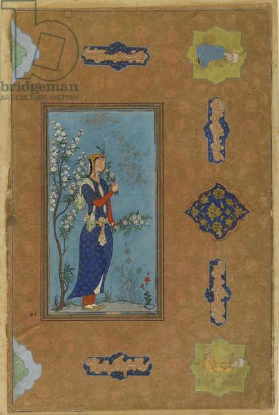 Woman with a spray of flowers, Safavid Period, c.1575 (w/c & gold on paper)