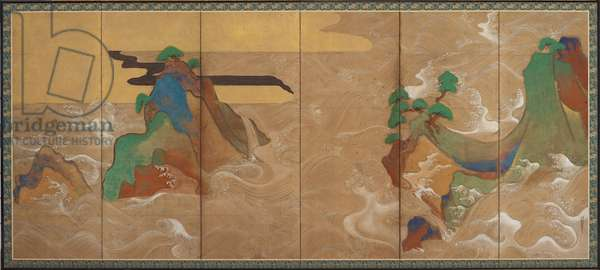 Waves at Matsushima, Edo period (ink, colour, gold and silver on paper)