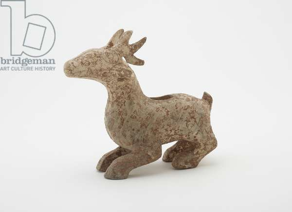 Figure in the form of a crouching stag with horns (forgery), 1900-60 (earthenware)