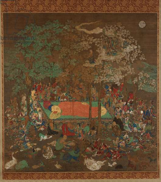 Nirvana of the Buddha, Kamakura period (ink, colour, gold and silver on silk)