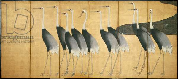 Six-panel screen depicting Cranes, Edo Period (ink, colour, gold & silver on paper)