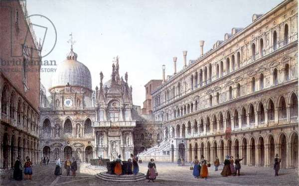 The Courtyard of Palazzo Ducale, Venice, engraved by Brizeghel (litho)