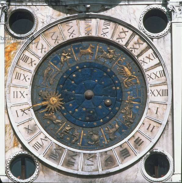 The gold and enamel clock face, design begun by Mauro Coducci (1440-1504) 1496-99 (photo)