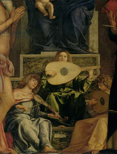 The San Giobbe Altarpiece, detail of angels playing music, c.1487 (oil on panel) (detail of 55433)