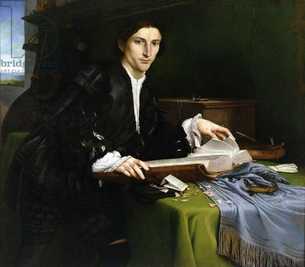 Portrait of a Gentleman in his Study, 1528-30 (oil on canvas) (post restoration)