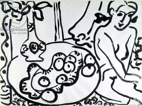 Still Life with a Nude, 1947 (pen & ink on paper)