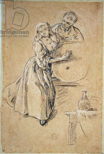 Wine-pourer with a Young Man (chalk) card