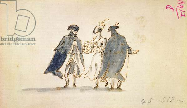Three Masked Figures in Carnival Costume (pen & ink on paper)