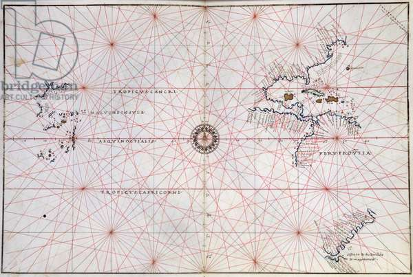 Nautical Chart of the Pacific Ocean and Central America, 16th century