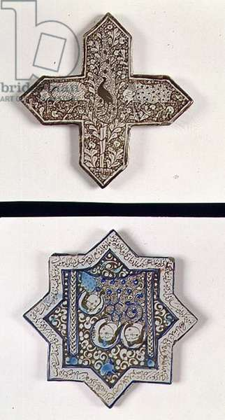 Two tiles, one in the form of a crucifix decorated with wild boar and one in a star decorated with three female heads, Persian (glazed ceramic)