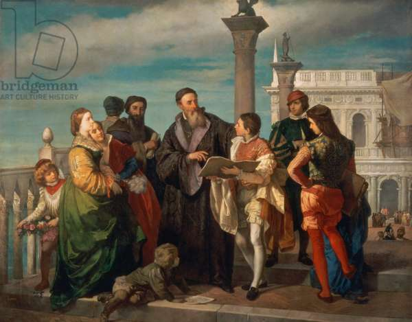 The Meeting Between Titian (1488-1576) and Veronese (1528-88) on the Ponte della Paglia (oil on canvas)