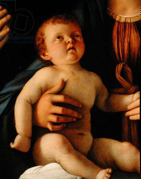 Virgin and Child with St. Catherine and Mary Magdalene, c.1500 (oil on panel) (detail)